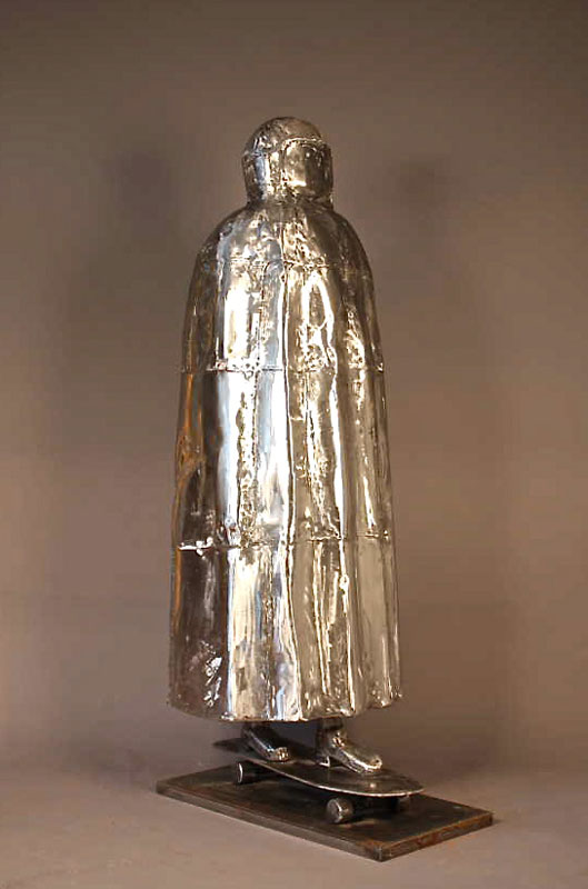 Burka Boarder, steel, 73 x 34 x 25, 2010, sculpture by Finley Fryer