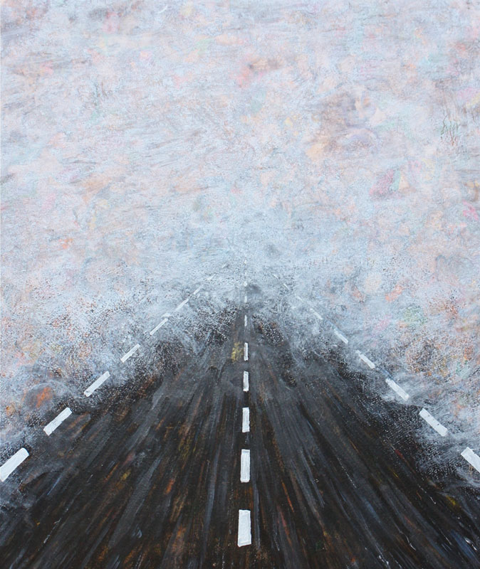 Road to Gold Beach, oil on board, 12 x 13, 2014 , painting by finley fryer